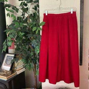 Vintage Pendleton Red Wool Pleated Skirt